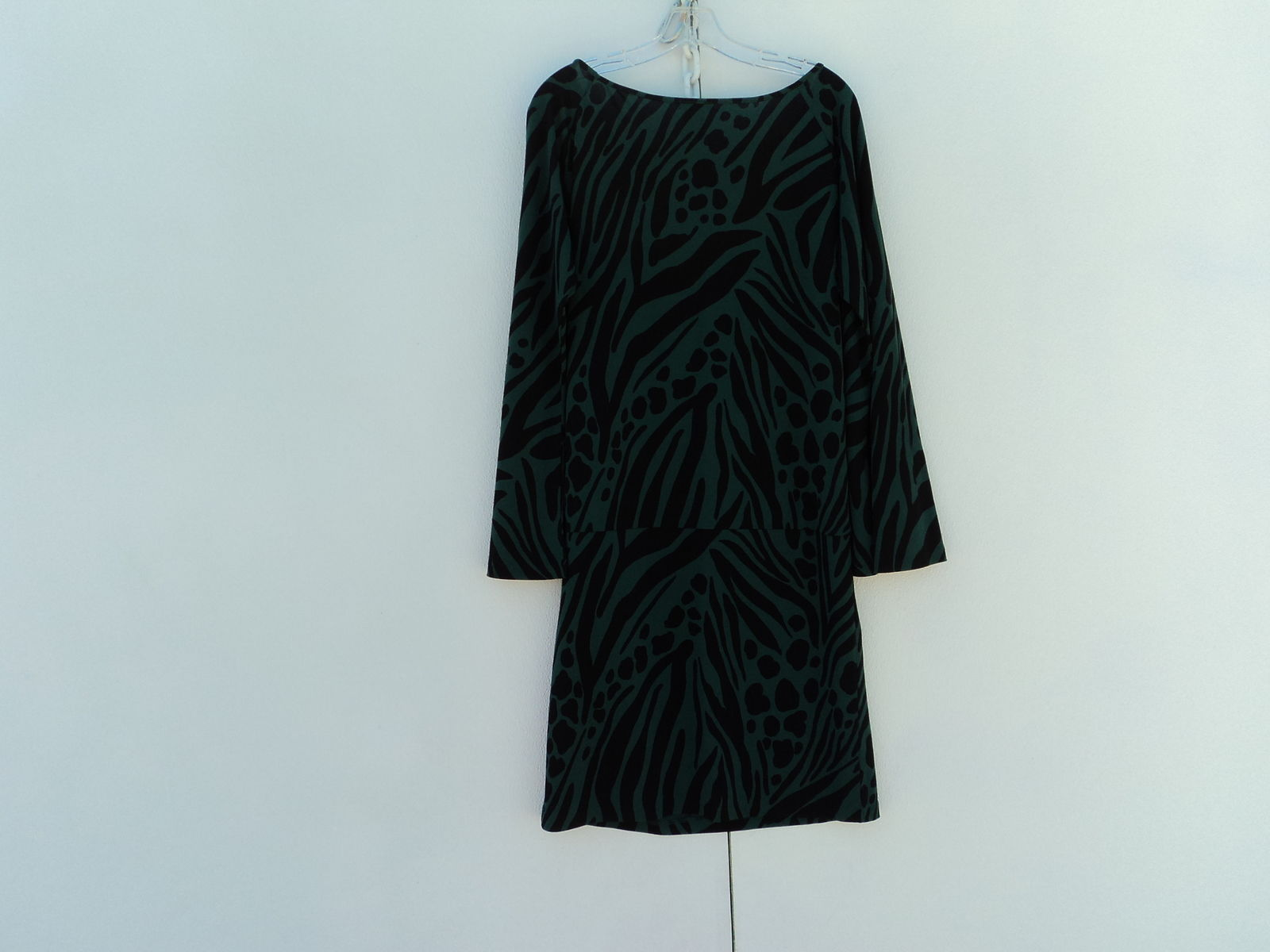 Moda International Blouson Dress Black Green Polyester Spandex Female L