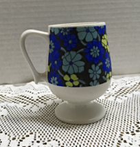 Vintage MOD FLOWER POWER Footed Cappuccino Cup Funky Fun Coffee Cup - $8.00