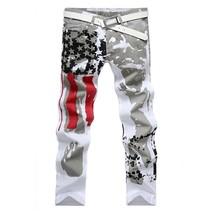 Mens Slim Fit American Flag Printing Causal Pants Skinny Demin Jeans (Wh... - $51.00