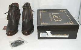 Lucky And Blessed SH 11 Dark Brown Leather Boots Fringe Metal Studs Size 7 image 1