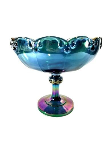 Primary image for Iridescent Indiana Blue Carnival Glass Compote Tear Drop Fruit Centerpiece Bowl