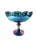 Iridescent Indiana Blue Carnival Glass Compote Tear Drop Fruit Centerpie... - $17.82