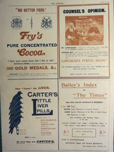 1900 VICTORIAN PRINT ~ ADVERTISEMENT FRY'S COCOA CARTER'S LITTLE LIVER P... - $76.47