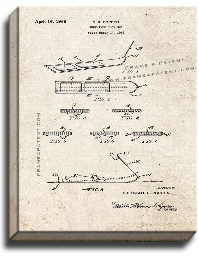 Primary image for Surf-type Snow Ski Patent Print Old Look on Canvas