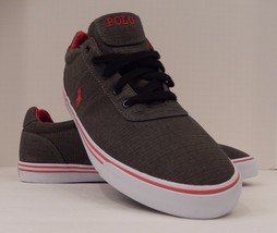 POLO RALPH LAUREN MENS SIZE 14 D GRAY RED RIPSTOP CANVAS FASHION SNEAKER... - $39.59