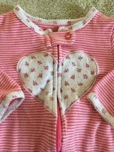 Carters Girls Pink White Striped Roses Heart Long Sleeve Pajamas 9 Months  - $5.00
