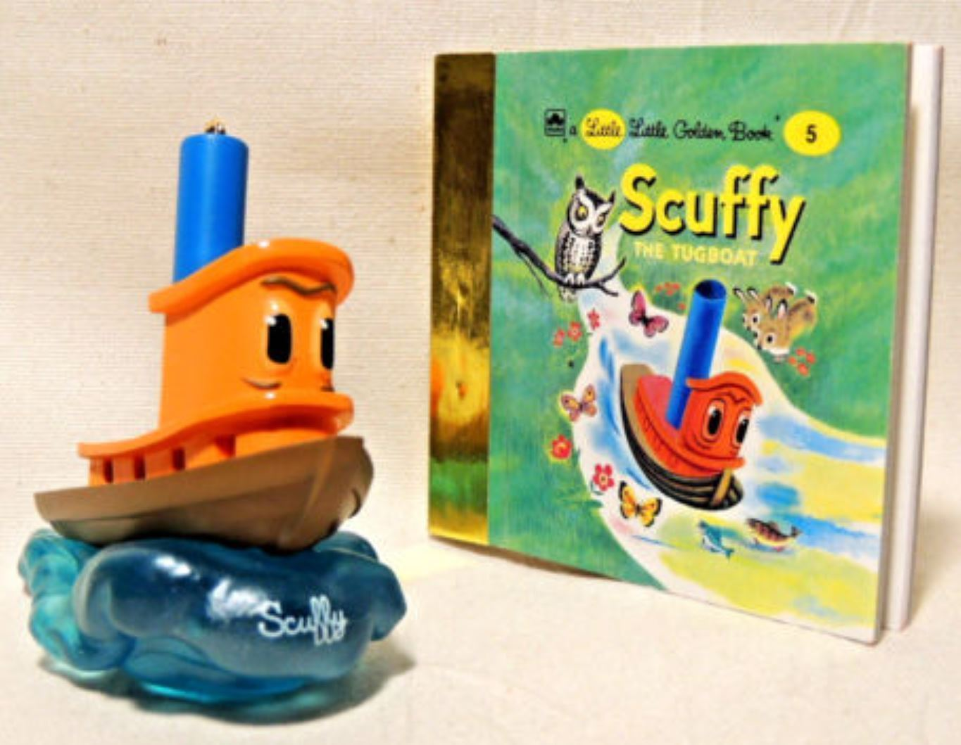 Primary image for Hallmark Scuffy the Tugboat  2000  Book and Boat  Holiday Ornament