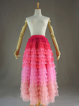 Tiered Long Tulle Skirt Red Pink High Waisted Layered Tulle Skirt Party Outfit image 14
