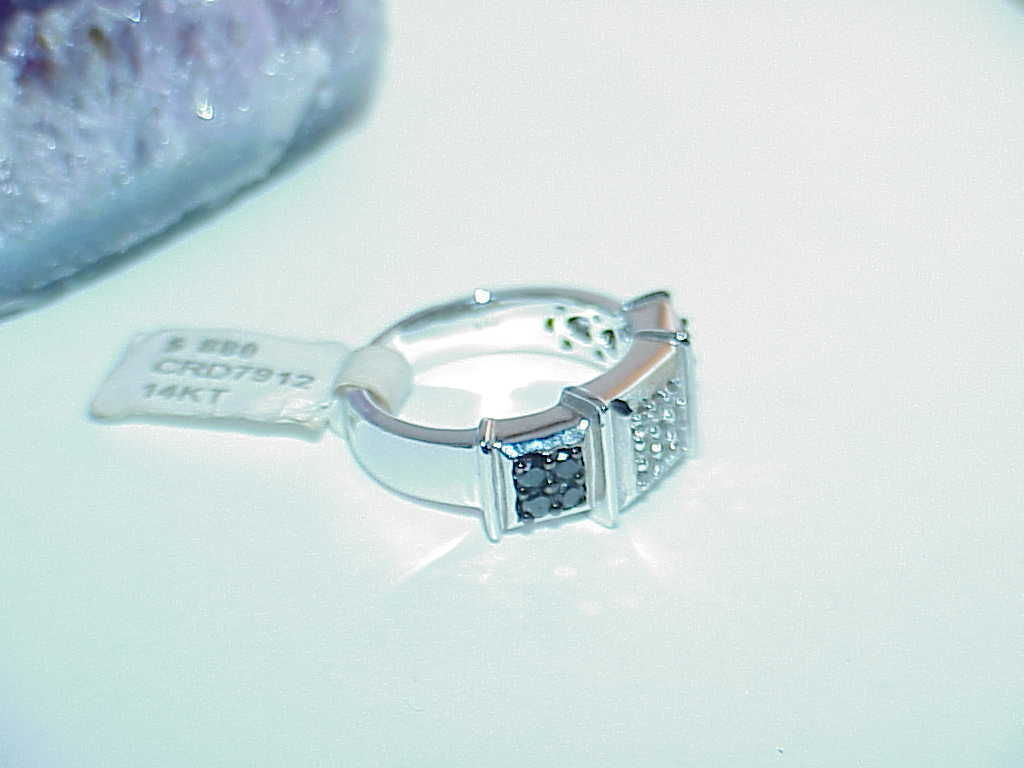 14K .55ct Black & White Diamond Square Top Ring White Gold Size 7 New Tag Hearts