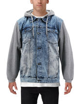 Men's Hooded Button Up Faded Denim With Jersey Sleeves Jean Trucker Jacket image 5