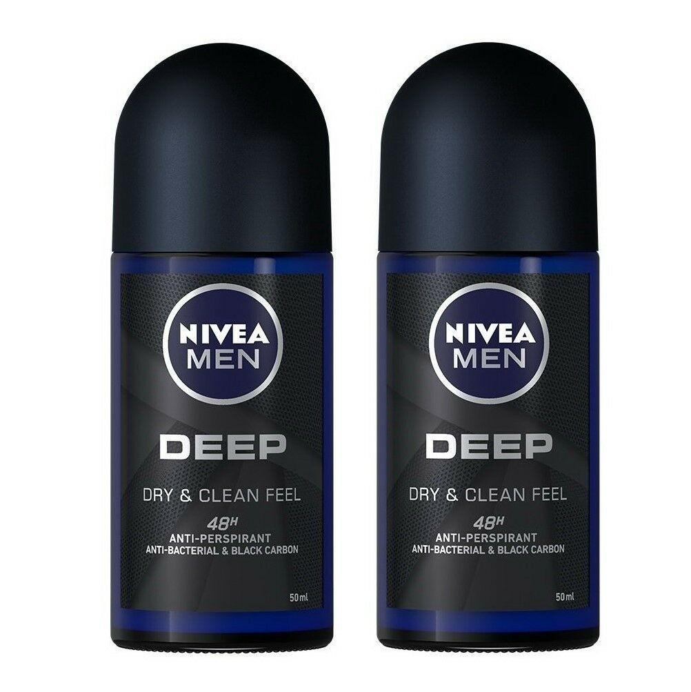 Nivea Men Deep Dry and Clean Deodorant Antiperspirant Roll On 50ml Pack of 2 image 2