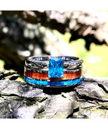 2pc Wedding Ring Set Opal Koa Wood Stainless Steel Sterling Silver Blue CZ  - $99.99
