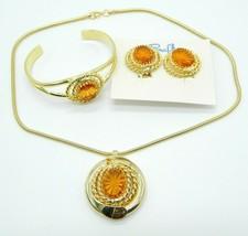 Pcraft Topaz Rhinestone Gold Tone Pendant Necklace Bracelet Set Vintage ... - $44.54