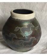 """J. Dillon Raku Art Pottery Vase 5 Etched Horses 5.5"""" Tall Crackled Glaze... - $60.80"""