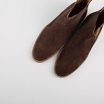 Handmade Men's Chocolate Brown Suede Chelsea High Ankle Boots image 4