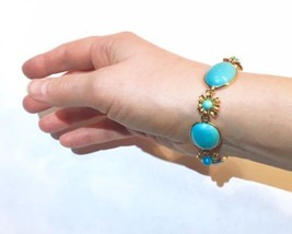 VERY big cabs Arts&Crafts turquoise Victorian Persian turquoise clasp br... - $3,059.00