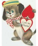 Vintage Valentine Card Little Dog in Hat Heart for Teacher Unused Hallmark - $6.92