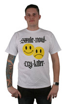 Freshjive Smile Now Cry Later Smiley Faces White T-Shirt Short Sleeve Tee
