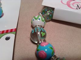 NEW Kate & Macy Hand Painted Glass Bracelet/Earring Sisters Forever Set image 3