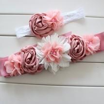 Vintage Pink/ivory Girl Woman Wedding Sashes Belt With Flower Headband 1... - $18.99