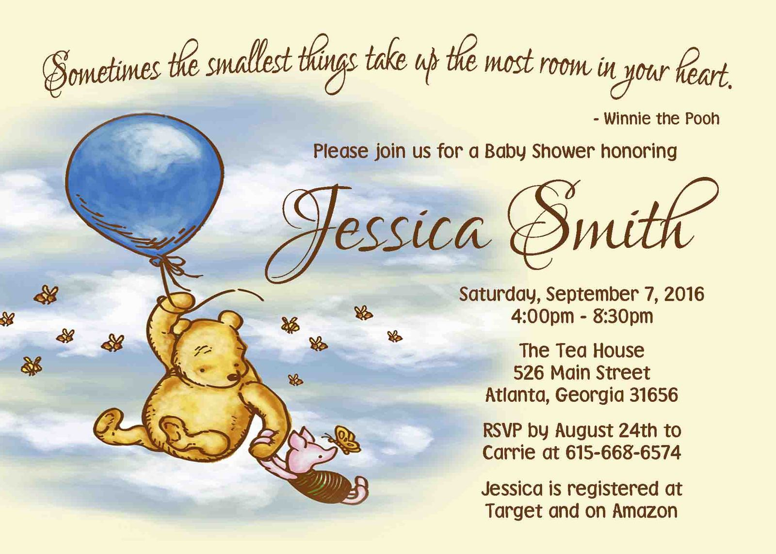 picture about Printable Winnie the Pooh Baby Shower Invitations called Winnie the Pooh Child Shower invitation Little one and 50 identical products