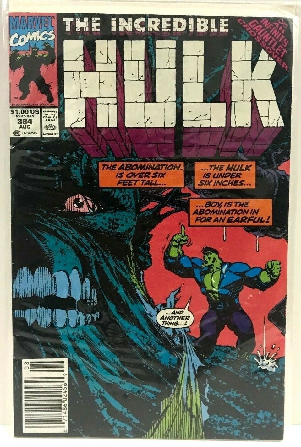 The Incredible Hulk 384 Aug 1991 Marvel Comics Comes With Plastic Cardboard Back