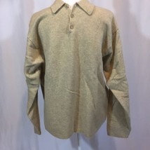J. Crew Large Sweater Vintage 80s Brown Lambswool Collar Button Neck Hong Kong - $38.69