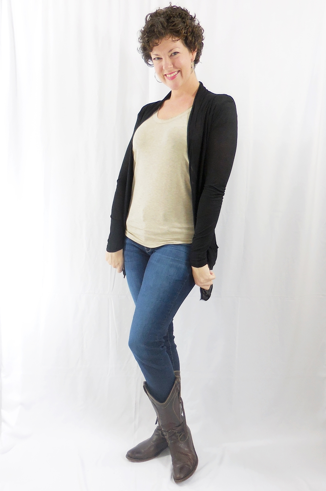Black Open Front Flyaway Cardigan, Lightweight Rayon Layering Sweater