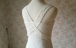 Ivory White Slim Stretchy Lace Tank Top Wedding Bridesmaid Lace Tank Top image 2