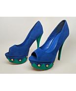 CLEARANCE L@@K! LILIANA Size 7.5 High Heels Suede Platform Blue Green Go... - $17.81