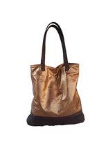 Metallic Leather Bag, Slouchy Leather Tote Bag, Brown Shoulder Handbag, Yosy - $133.49