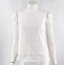 J Crew Factory Eyelet Shell Top Size 2 White Layered Cotton Tank Womens - $19.80