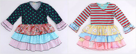 NEW Girls Boutique Striped Polka Dot Long Sleeve Floral Ruffle Dress 5-6... - $12.99