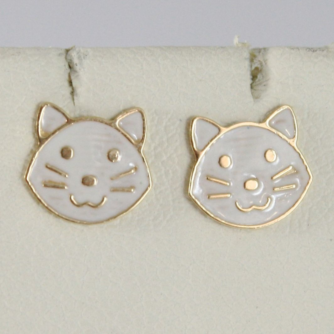 EARRINGS BABY GIRL YELLOW GOLD 750 18K LOBE, MINI CATS ENAMELLED, CAT WHITE