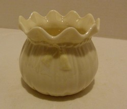 Vintage Belleek Parian China Ribbon Vase or Sugar Bowl 3rd Green Mark Ireland - $59.98