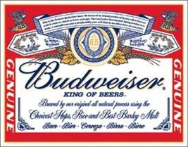 Budweiser King of Beers Classic Logo Tin Sign Reproduct - $8.79