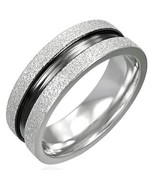316L Stainless Steel 2-Tone Sandblasted Flat Band Ring - $10.25