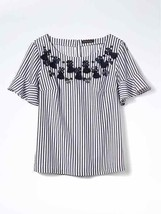 Banana Republic Embellished Flutter-Sleeve Top White Striped Cotton Size M, NWT - $75.24