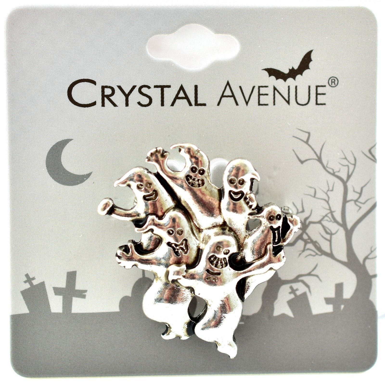 Crystal Avenue Silver-Tone Halloween Ghost Pin Brooch