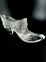 Vintage Fenton Clear Glass Daisy and Button Shoe - $6.93