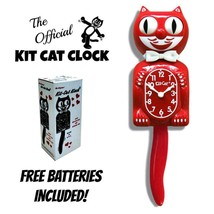 "SCARLET RED KIT CAT CLOCK 15.5"" Free Battery MADE IN USA New Kit-Cat Klock - $59.99"