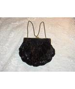 Vintage La Regale Ltd Black Bugle Beaded Chain Shell Evening Bag Purse H... - $64.35