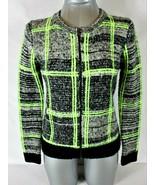 FOREVER 21 womens Small L/S black gray green FULL ZIPPER sweater jacket ... - $35.38