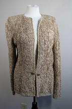 "Fine Feathers 40"" Bust L? Brown Gold Cardigan Sweater - $30.40"
