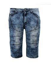 Men's Distressed Denim Faded Wash Slim Fit Moto Quilt Skinny Jean Shorts image 5