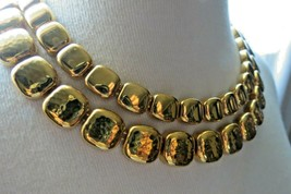 """Monet Necklace Gold Plated Double Links 17"""" Designer Square Hammered NICE image 2"""
