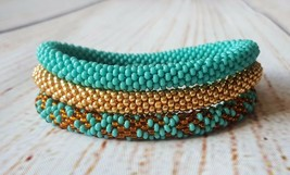 Nepal beaded rope bracelet set, roll it on bangle turquoise gold girlfri... - $17.00+