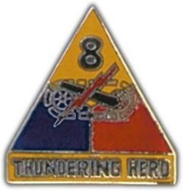 ARMY 8TH ARMORED DIVISION THUNDERING HERD MILITARY PIN - $13.53
