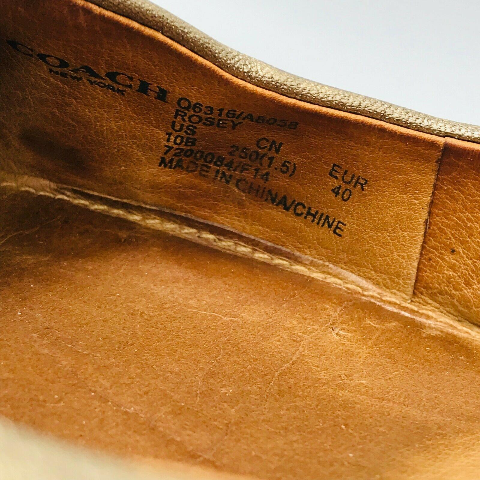 Coach Women's Rosey Pumps Metallic Gold Leather Size 10B