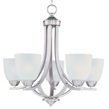 Axis 5-Light Satin Nickel Chandelier with Frosted Shade, MISSING 1 SHADE - $89.09